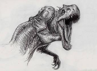 Inkotber 05- Jurassic World Indominus VS T.rex by SpinoJP