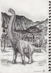 Inktober 12- Brachiosaurus walk at Jurassic World by SpinoJP
