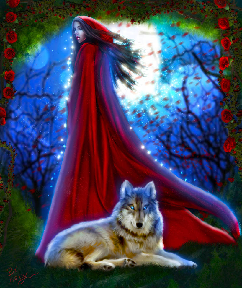 Red Riding Hood and Moon roses by Sinphie