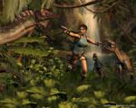 Lara Croft vs raptors by Nicobass
