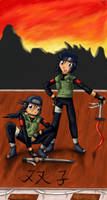 Twin Ninjas under the Sunset by pdutogepi