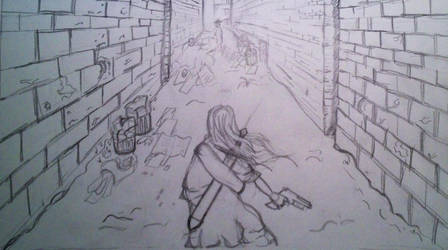 Rough Sketch: Alley Scene by JohnCLJansen