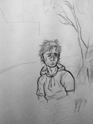 Rough Sketch 5: Sad Guy in a Hoodie by JohnCLJansen