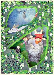 Ghiblischer Weihnachtsgruss - Wichtebild 2013 by Artistically-DE