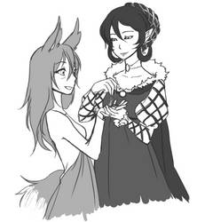 Sketch Commission 2 of 3 -Kindred Spirits- by TaxiRabbit