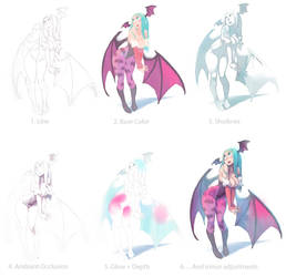 Morrigan color mini-making-of by xa-xa-xa