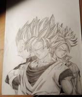 Goku, Vegeta, Trunks by LadyAlvarez