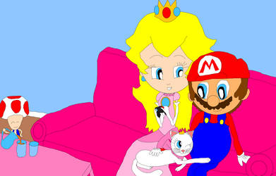Lilly admires Mario and Peach's Love by NyanSonia