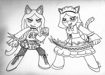 Iron Maiden and Catgirl Maid by WaitingForCoffee