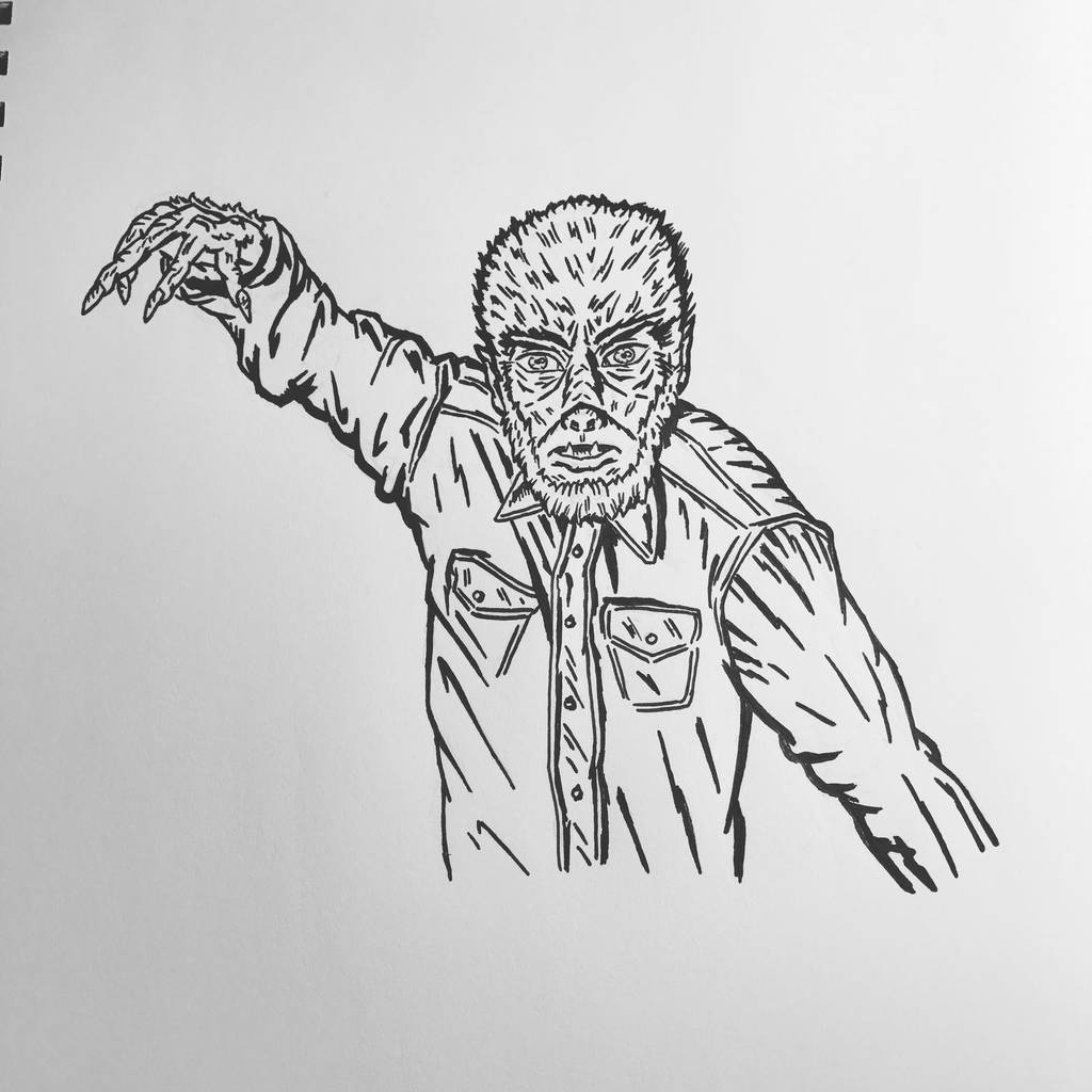 Inktober 2016, Day 9 - The Wolfman by EricAndersonCreative