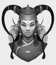 Mongolian Beauty BW by Erilain
