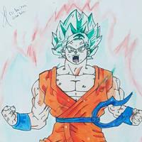 Goku blue kaioken  by JotaArt30
