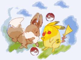 Eevee x Pikachu by amepan