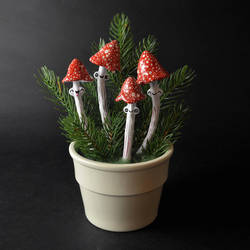 Happy Red Amanita Mushrooms by falauke