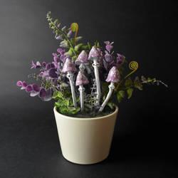 Lavender Mushrooms OOAK Figurine by falauke