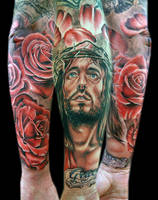 jesus half sleeve by tat2istcecil
