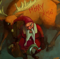 santa claus and his deer by cuson