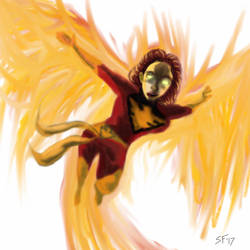 Dark Phoenix painting  by Number1Exile