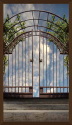 Iron Gate Blue Sky Background Stock 48 Framed by annamae22