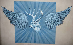 Winged Deer Stencil by AdomasWillKill