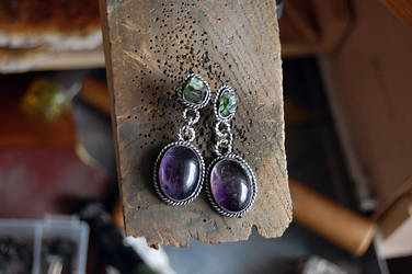 earrings with amethist by honeypunk