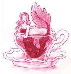 Red tea mermaid by Namtia