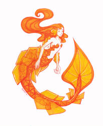 Wulfenite mermaid by Namtia