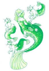 Catfish mermaid and her purrmaids by Namtia
