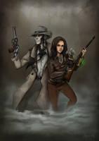 Jane and Nick Valentine by Aleoo-Whiter