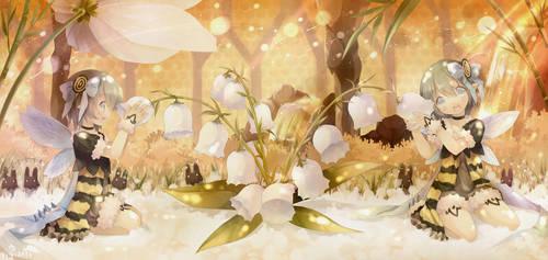 Twin bee pollen trap by ninjinshiru