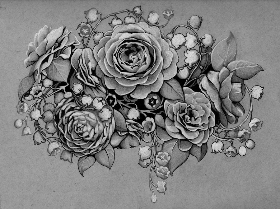 Tattoo Design Camellias And Lilies Of The Valley By Admhire On