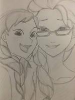 Anna and Elsa (Modern) Sketch by scootalootheotaku007