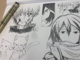 Anime Pen Sketches  by scootalootheotaku007