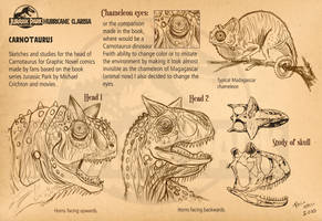 Carnotaurus head sketches by pauloomarcio