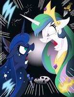 Princess Celesta vs Princess Luna by Samoht-Lion