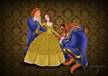 Designer Fairytale: Belle + Beast/Adam by MissMikopete