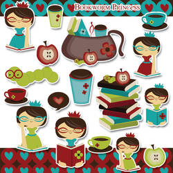 Bookworm Princess Clipart by jdDoodles