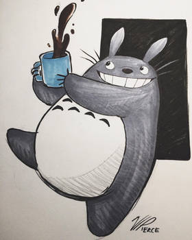 Totoro and a Cup of Joe! by VIPiercer