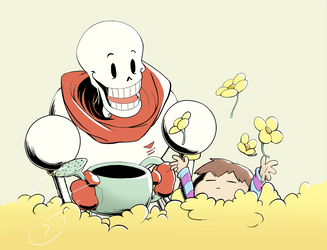 Papyrus and Frisk Tending the garden by Flying-pen