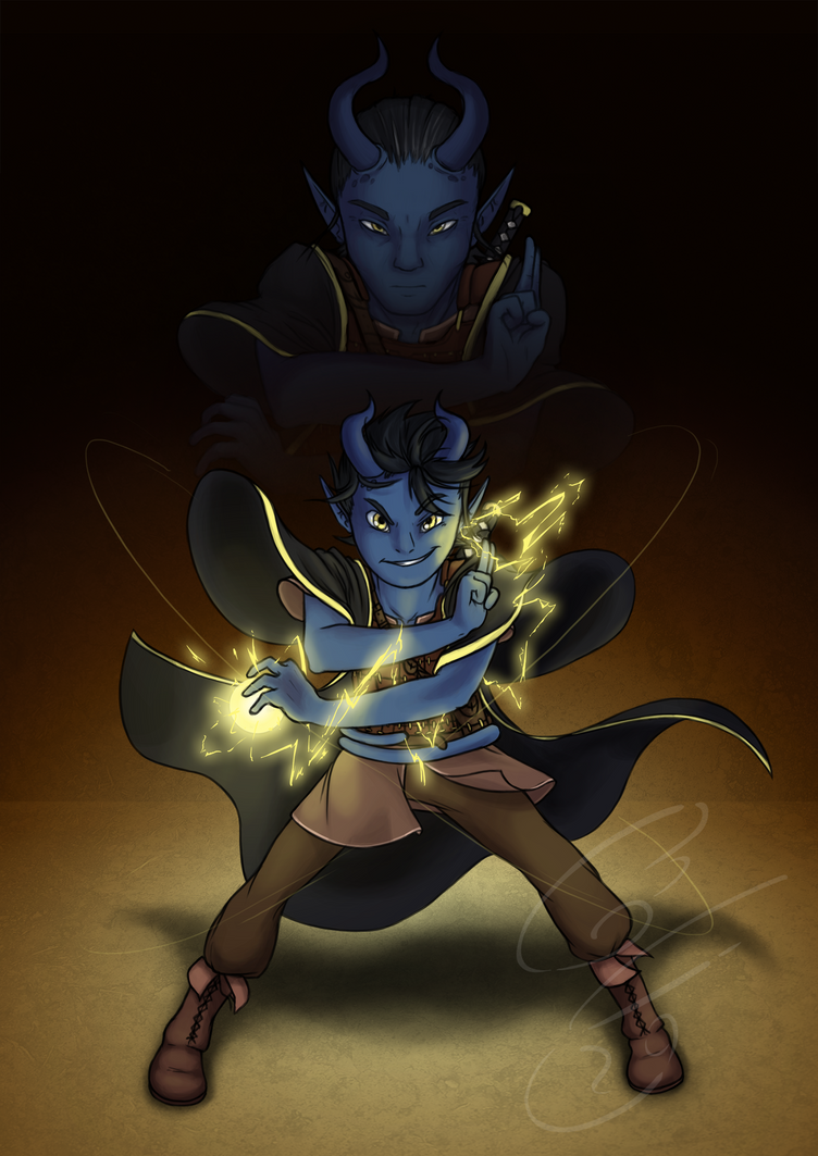 Commission work - Flint the Tiefling by Flying-pen
