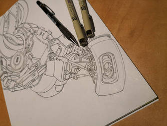 GLaDOS - Inking by LordMiras