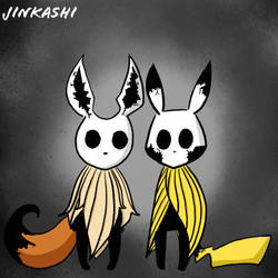 Hollow Knight x Pokemon Eevee and Pikachu by Jinkashi