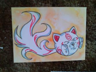 Angry Fox Okami Watercolor by Kefka750