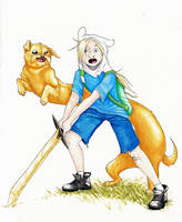 Jake the dog and Finn the human by Alagvaile
