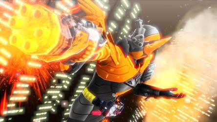 [MMD KAMEN RIDER] Gatling wielding Hawk by MIST-TO-GUN