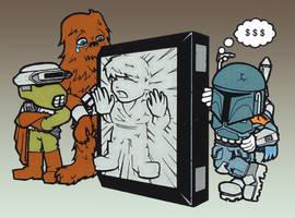Boba Fett + Leia + Chewbacca by NiceMugOfTea