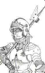 Gothic War-Maiden -Lineart- by Kissakisan
