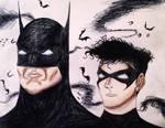 Batman and Robin Tim Burton Style. by Kongzilla2010