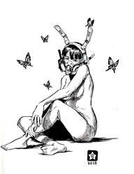 Inktober 2018-Butterfly Bunny Girl by Novanim
