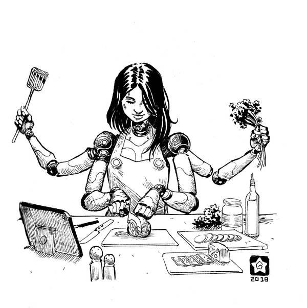 Inktober 2018-Cook Girl by Novanim